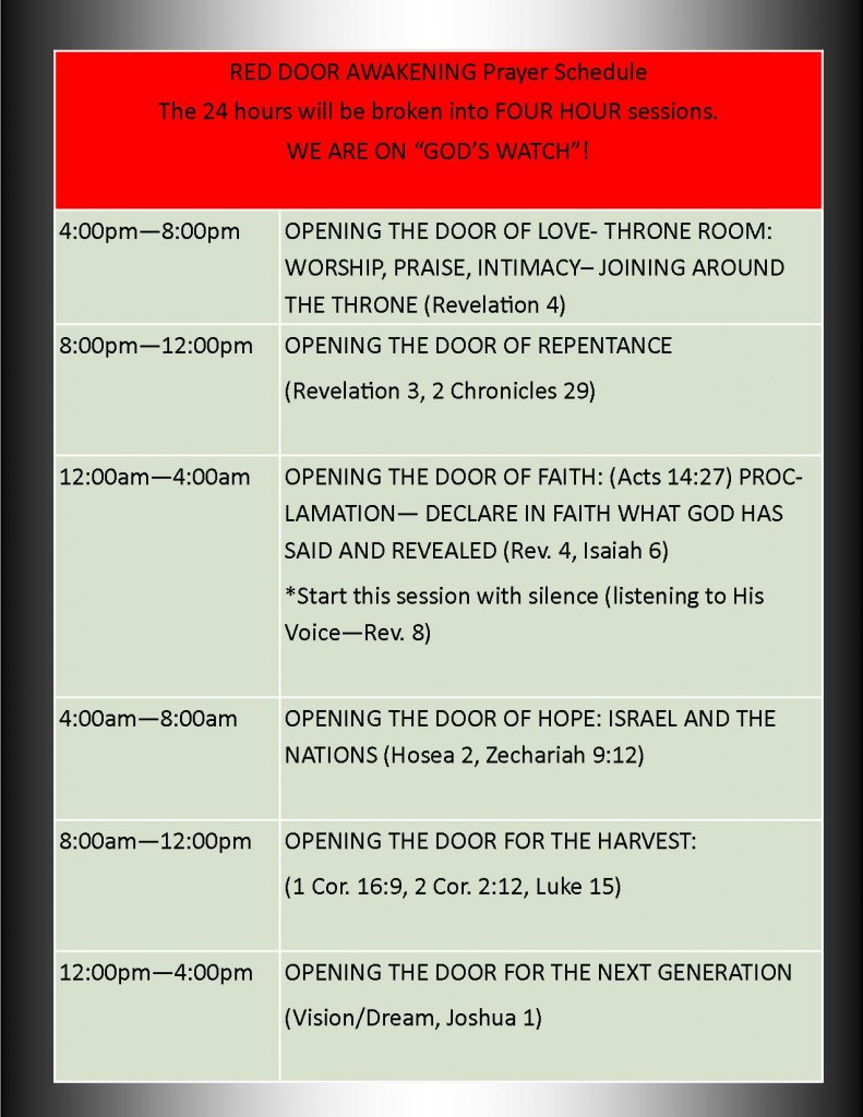 RED DOOR AWAKENING Prayer Schedule
